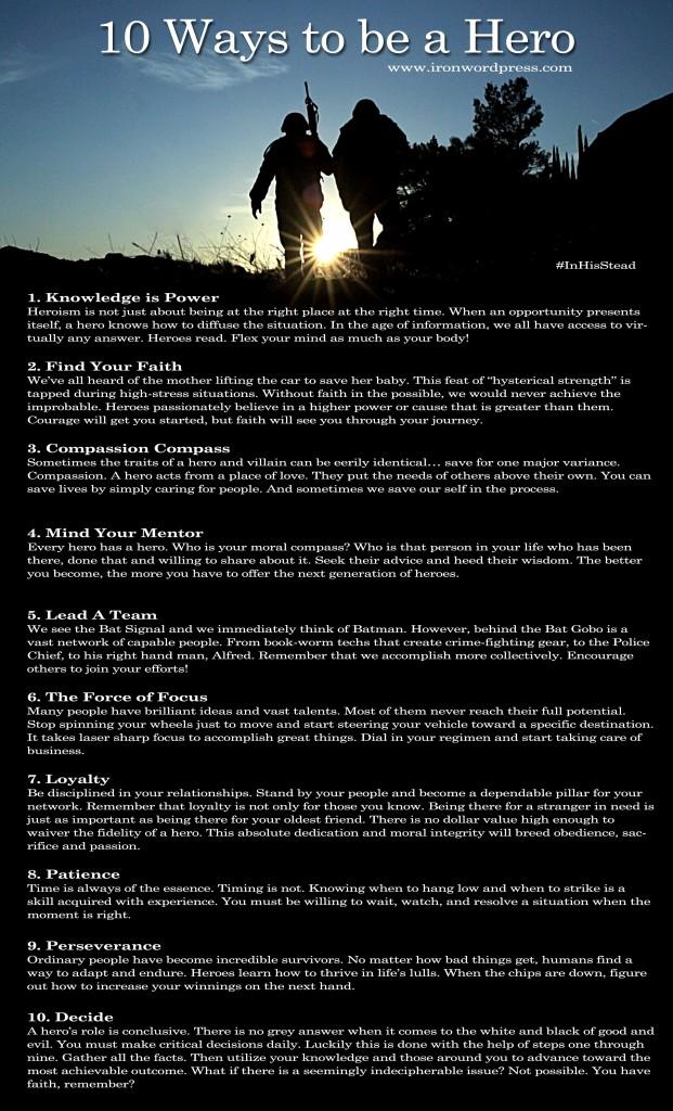 Ten Ways to Be a Hero